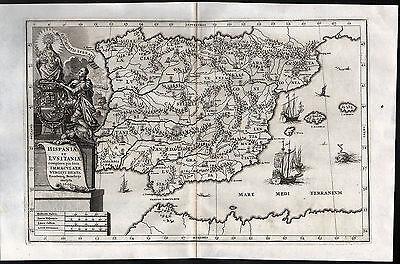 SPANIEN / PORTUGAL seltene Landkarte aus Scherer, datiert 1699 Original