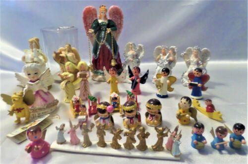 Vintage Assort Christmas Wood Angels Winnie Pooh Ornament Porcelain Prayer Japan