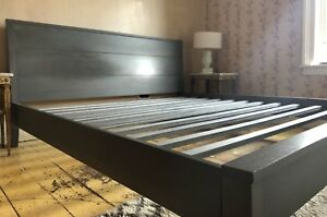 Beautiful grey solid maple king bed frame