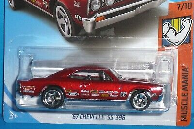 2018 HOT WHEELS '67 Chevy Chevelle SS 396 MUSCLE MANIA Red Mooneyes 7/10 1967