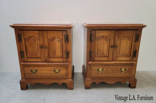 Pair Vintage French Country Maple Nightstands by Bullock