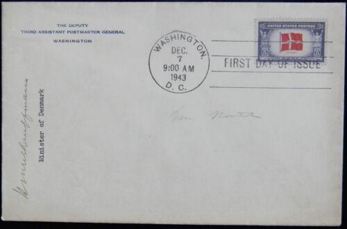 FDC Sc #920 5c, Denmark, HISTORIC - Signed by Henrik Kauffmann on PMG Envelope