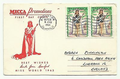 Jamaica First Day Cover Miss World 1963 (Postmarked 1964) postcard