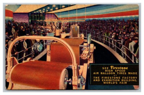 Vintage 1933 Postcard Firestone Tire Factory of the Future Chicago World