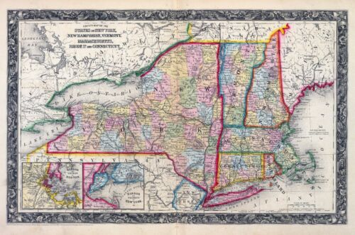 1860 ornate map NEW ENGLAND STATES Vermont Augustus Mitchell, Jr. POSTER 0565009