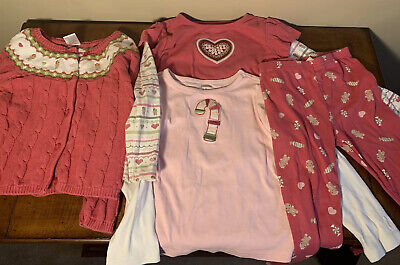 GYMBOREE Gingerbread Girl Pink Fair Isle Sweater Shirts Leggings Lot 5/5T EUC