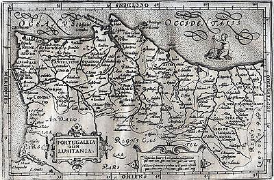 Portugal und Algarve Landkarte Hondius 1635 - Original!