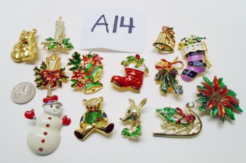 12 Vintage Costume Jewelry Christmas Holiday Pins A14 VARIOUS ENAMEL GOLDTONE