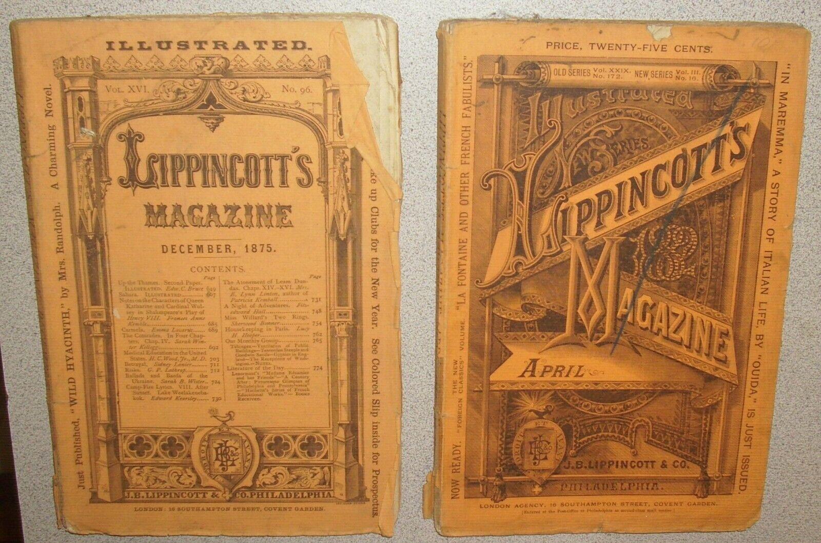 2 Original Antique LIPPINCOTT S Magazine 1875 1882 Illustrated. Antique Ads  - $8.99