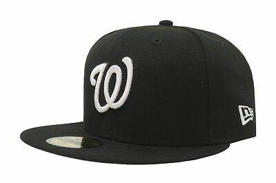 White Washington Hat - New Era Hat 59Fifty MLB Washington Nationals Fitted Baseball Cap Black White