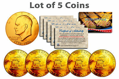 Bicentennial 1976 Eisenhower IKE Dollar Coin 24K GOLD PLATED w/Capsules (QTY 5)
