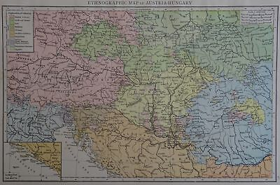 Victorian Map 1896 of ETHNOGRAPH of AUSTRIA HUNGARY The Times Atlas 1st Gen