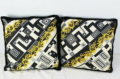 Pair of Medium VERSACE Decorative Throw Pillows Baroque Geometric