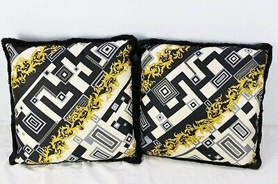 Pair of Medium VERSACE Decorative Throw Pillows Baroque Geometric