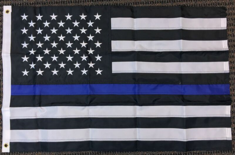 2x3 Thin Blue Line American Embroidered 210D Flag Police Lives Matter Memorial