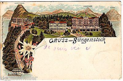 Gruss vom Bürgenstock AK 1898 Nidwalden Litho Mehrbild Schweiz Suisse 1509517