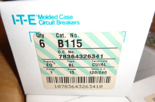 NEW IN BOX SIEMENS TYPE BL (6 PIECES) CAT. B115 15A BOLTON CIRCUIT BREAKERS