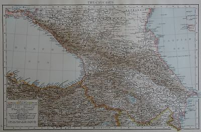 Victorian Map 1896 of THE CAUCASUS The Times Atlas 1st Gen