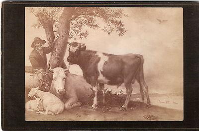 CAB photo Kunstbild Bauer mit Vieh - 1880er