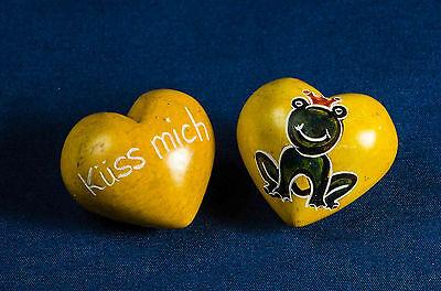 """Handschmeichler Herz """"küss mich"""" Frosch Speckstein 4,0 cm Handarbeit aus Kenia"""