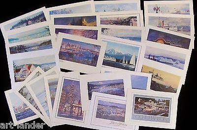 26 Seattle WA San Juan Island Ferry Boats Fine Art Note Cards ~ Marshall Johnson