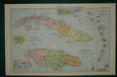 1905 ANTIQUE MAP ~ CUBA & JAMAICA HAVANNA LESSER ANTILLES PLAN KINGSTON SURREY