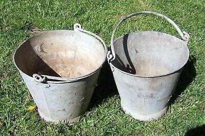 2 x Vintage galvanised buckets