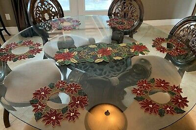 Food Network Christmas Poinsettia Beaded Table Runner & 6 Matching Place-mats -