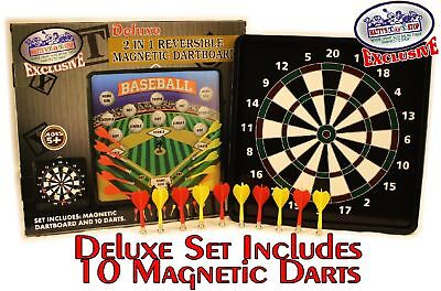 - Deluxe 2-in-1 Reversible Magnetic Dartboard with 10 Darts (Standard & Baseball)