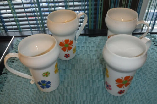 4 Vintage 1960s Mid Century MOD Flower Power Porcelain Coffee Mugs Japan un used