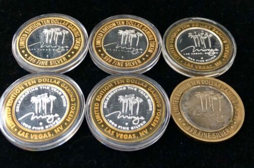Lot of 6 $10 The Mirage Las Vegas Casino .999 Fine Silver Strikes Chips Tokens
