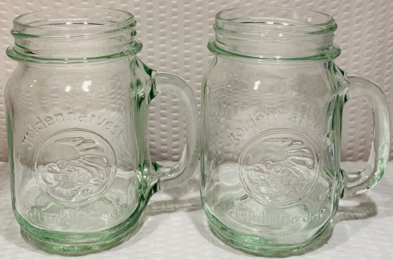 """Lot Of 2 ~ 5 1/8"""" Golden Harvest Green Handled Drinking Jar Qt  by Anchor Glass"""