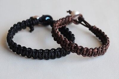For Her For Him Pearl Leather Bracelet Set Of Two Valentines Day Gift Yevga