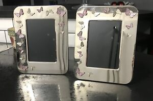 Butterfly 4 x 6 picture frames with pink jewelled butterflies