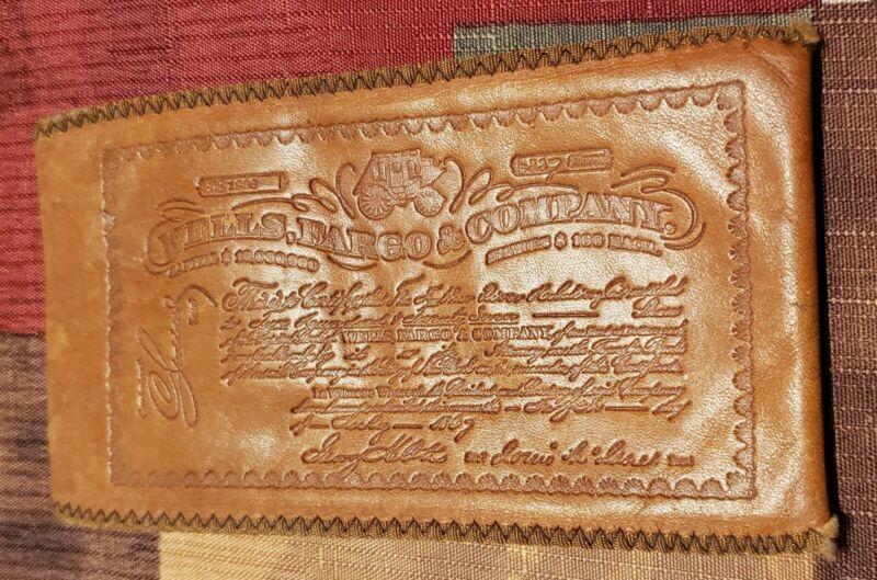 Vintage WELLS FARGO Embossed Leather Bill Fold Money Holder. Checkbook