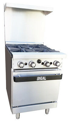 New Commercial 24 Range Oven With Four Burners. Made In Usa By Ideal. Etl List