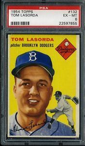 1954 TOPPS #132 TOM LASORDA HOF RC PSA 6 DODGERS *15970