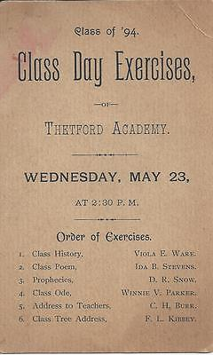 CLASS OF 1894 CLASS DAY EXERCISES OF THETFORD ACADEMY,WEDNESDAY, MAY 23