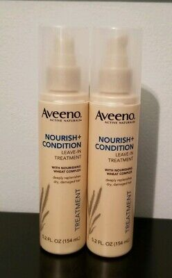 X2 NEW Aveeno Active Naturals Nourish + Condition Leave-In Hair Treatment 5.2