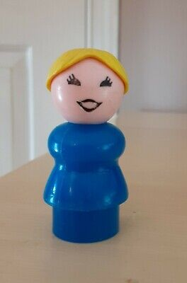 Vintage Fisher Price little people blue mom/woman yellow/blonde hair