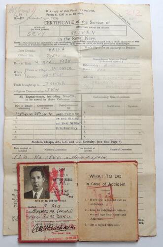 WW2 BRITISH ROYAL NAVY AIR RNAS JEWISH SOLDIER DOCUMENTS LICENSE DEKHEILA EGYPT