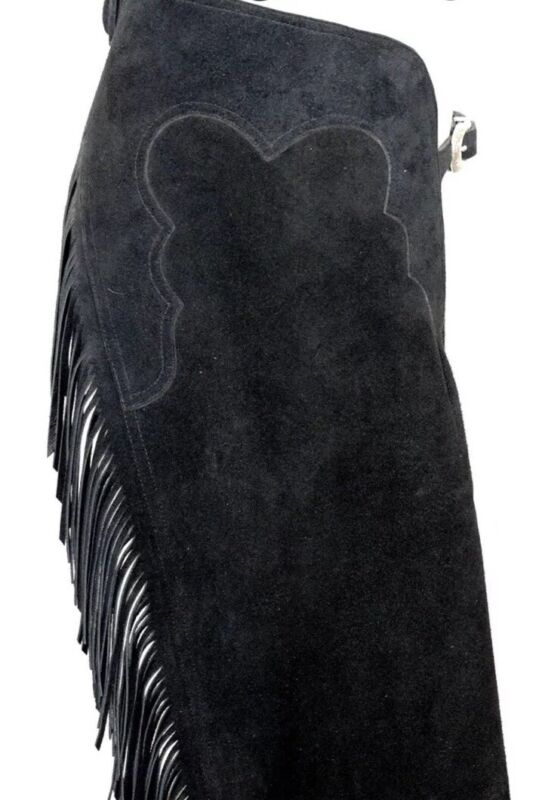 Custom Made - Top Grain Black Genuine Suede Leather Western Show Chaps