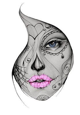 eltransfer Sugar Skull Girl Face sad alle Stoffe DIN A5 o A4 (Sugar Skull Girl)