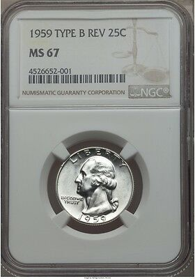 Click now to see the BUY IT NOW Price! 1959 WASHINGTON QUARTER TYPE B NGC MS67 TYPE A PG   $5,250 TYPE B MUCH R