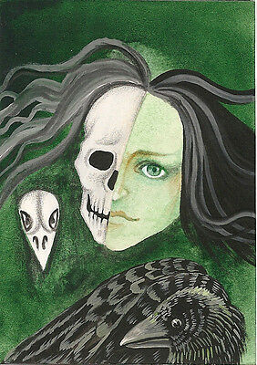 5x7 PRINT OF PAINTING RAVEN CROW RYTA GOTHIC ART HALLOWEEN LIFE DEATH SKELETON