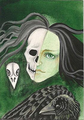 5x7 PRINT OF PAINTING RAVEN CROW RYTA GOTHIC ART HALLOWEEN LIFE DEATH SKELETON