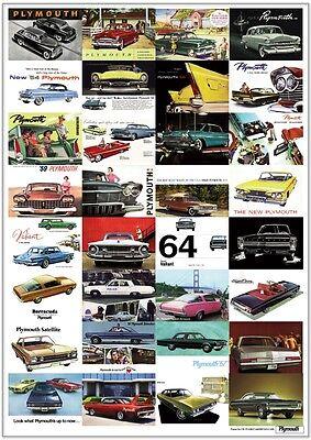 PLYMOUTH  RETRO ART PRINT - Valiant Barracuda Sport Fury Belvedere Advert poster