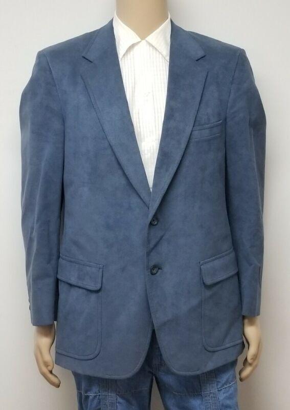 Vtg 60s 70s KINGSRIDGE Blue SUEDE Mens Sport Coat Jacket Suit Blazer DISCO