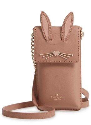 New KATE SPADE NEW YORK Rabbit Leather Smartphone Crossbody Bag Tan Multi