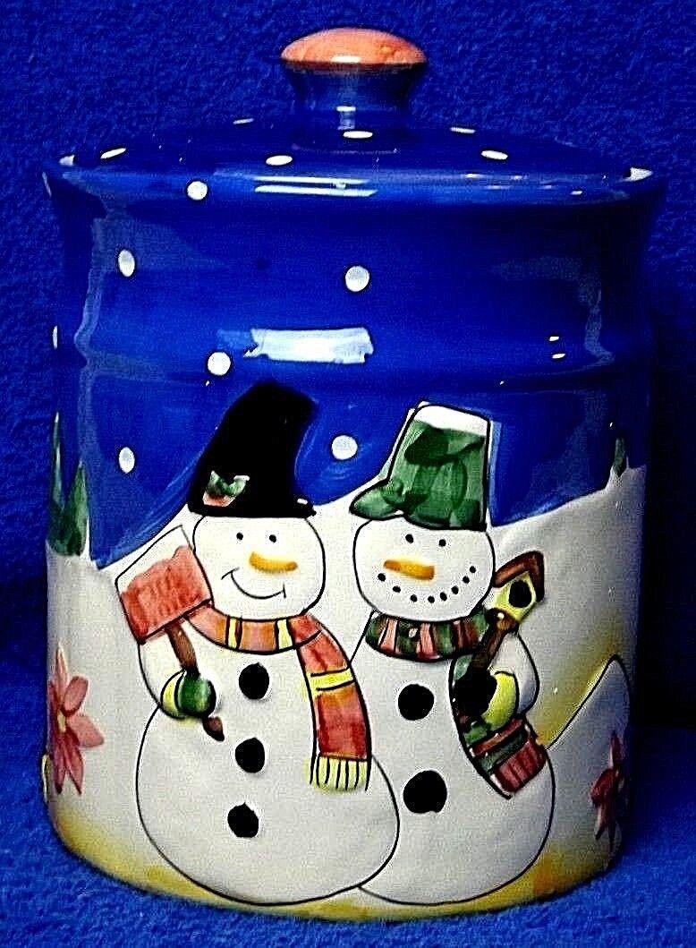 11 Inch #NG Ceramic Cookie Jar Snowman Christmas Storage Tub